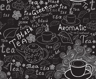 Endless food and drink vector texture with tea cups, teapots, tea leaves and handwritten words tea Royalty Free Stock Photos
