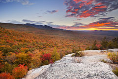Endless forests in fall foliage at sunset, New Hampshire, USA Royalty Free Stock Images