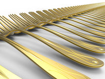 Endless golden forks Royalty Free Stock Images