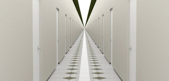 Endless hallway. 3D rendering of long corridor Stock Photo