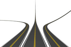 Endless highways. Isolated on white Stock Photography