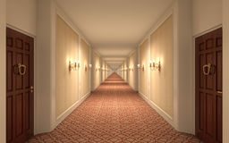 Endless Hotel Corridor Stock Photos