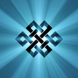 Endless knot blue shining light flare. Endless knot (Eternal knot) is a cultural symbol across Buddhism, Tibet and Chinese Art, illustrated with powerful light royalty free illustration