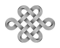 Endless knot made of crossed metal wires. Buddhist symbol. Vector illustration stock illustration