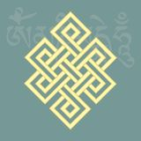 Endless knot,one of eight auspicious buddhist religious symbols, Royalty Free Stock Images