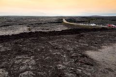 Endless lava fields of the Big Isalnd of Hawaii. Smooth, undulating surface of frozen pahoehoe lava. Hawaii, USA Stock Image