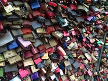 Endless locks. A bridge wall of locks taken in Paris Royalty Free Stock Images
