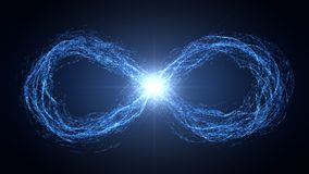 Endless loop of moving energy particles Stock Images