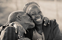 Endless  love. In love African American couple in their eighties and seventies, hugging and kissing, Botswana Royalty Free Stock Photography