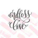 Endless love - hand lettering inscription text to valentines day. Design, love letters on abstract pink brush stroke background, calligraphy vector illustration Stock Photo