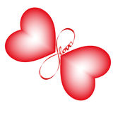 Endless love4. Symbol of endless love, wings of a butterfly in the form of heart Royalty Free Stock Image