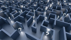 Endless maze. With blue walls and illuminated question marks Royalty Free Stock Photo
