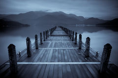 Endless mist lake. Black and white Stock Photography
