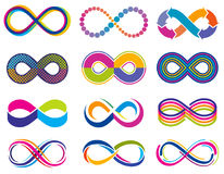 Endless mobius loop infinity vector concept symbols. Eternity icons Stock Images