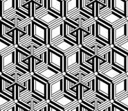 Endless monochrome symmetric pattern, graphic design. Geometric Stock Photo