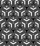 Endless monochrome symmetric pattern, graphic design. Stock Image