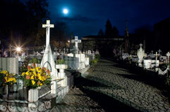 Endless night. Cemetery view in a full moon night royalty free stock photo