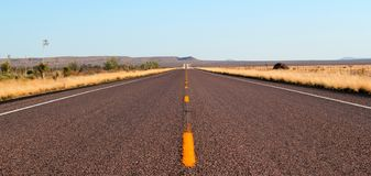 Endless open straight road in Big Bend National Park in Texas royalty free stock image