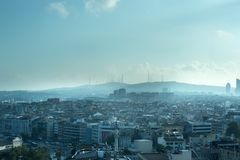 Endless Packed House Roofs with clouds in istanbul. Good view Stock Photo