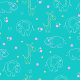 Endless pattern of animals. Giraffe, hippopotamus and elephant. Vector illustration Royalty Free Stock Photo