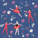 Endless pattern with ballet dancers and beautiful flowers. Vector. Design royalty free illustration