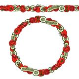 Endless Pattern Brush, Round Garland with Green Cucumber and Tomato Slices with Seeds. Wreath or Circle Frame. Ketchup Logo or Veg. Etable Salad. Hand Drawn Stock Photo