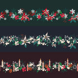 Endless pattern brushes with Christmas decorations. For season design, announcements, postcards, posters Stock Image