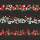 Endless pattern brushes with Christmas decorations. For season design, announcements, postcards, posters Stock Images