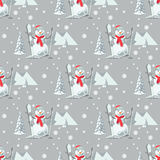 Endless pattern Christmas theme. Vector seamless illustration of a snowman, ski outfit with snow covered trees Stock Images