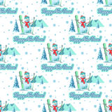 Endless pattern Christmas theme. Vector seamless illustration of a snowman Stock Image