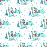Endless pattern Christmas theme. Vector seamless illustration of a snowman, ski outfit with snow covered trees Royalty Free Stock Images