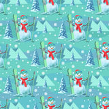 Endless pattern Christmas theme. Vector seamless illustration of a snowman, ski outfit with snow covered trees Royalty Free Stock Photos