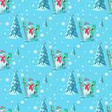 Endless pattern Christmas theme. Vector seamless illustration of a snowman, ski snowboard outfit with snow covered trees Royalty Free Stock Photos