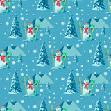 Endless pattern Christmas theme. Vector seamless illustration of a snowman, ski snowboard outfit with snow covered trees Royalty Free Stock Photo