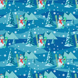 Endless pattern Christmas theme. Vector seamless illustration of a snowman, ski snowboard with snow covered trees Royalty Free Stock Photo