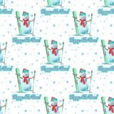 Endless pattern Christmas theme. Vector seamless illustration of a snowman with ski on white background lettering ongratulation. Stock Image