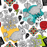 Endless pattern with cute animals and abstract elements. Vector seamless illustration for print Stock Image