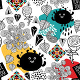 Endless pattern with cute monsters and abstract elements. Stock Image