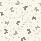 Endless pattern with cute plants, butterflies and petals Stock Photo