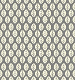 Endless pattern with decorative ivory leaves on grey background Royalty Free Stock Images