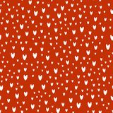 Pattern of white hearts on red background. Endless pattern of the hearts, different sizes, vertical. Cute for Valentines day and love themes Stock Photography