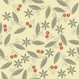 Endless pattern with the image of the berries cowberries, leaves royalty free illustration