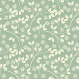 Endless pattern with ivory flowers and leaves on light green freshness background. Vector template can be used for surface textures, textile, linen, tile, kids vector illustration