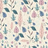 Seamless background with different green, pink and blue leaves. royalty free illustration
