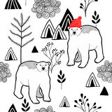 Endless pattern with polar bear in red heat in the mountains. Stock Photos
