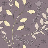 Endless pattern with soulful decorative plants. On purple background can be used for design fabric, textile, linens and more creative designs Stock Image