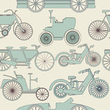 Endless patterns with old cars and bikes Stock Photos