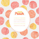 Endless peach texture, repeating fruit background. Text frame. Stock Photo
