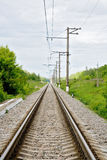 Endless railway track. Photo of endless railway track Stock Photos