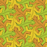 Endless reptiles. Orange, green and yellow lizards as pattern |  illustration Royalty Free Stock Photography